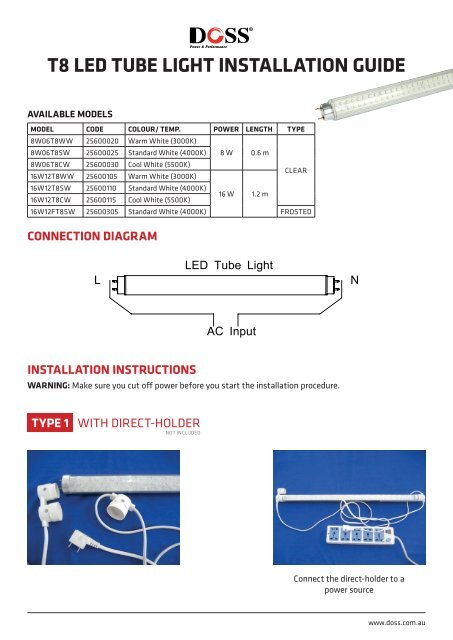 t8 LED tUBE LIGHt INStALLAtION GUIDE - Wintal