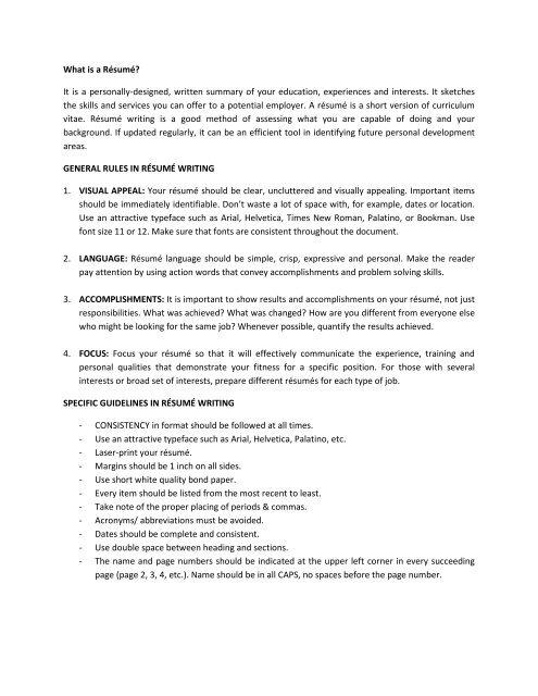 DLSU Resume Format - De La Salle University