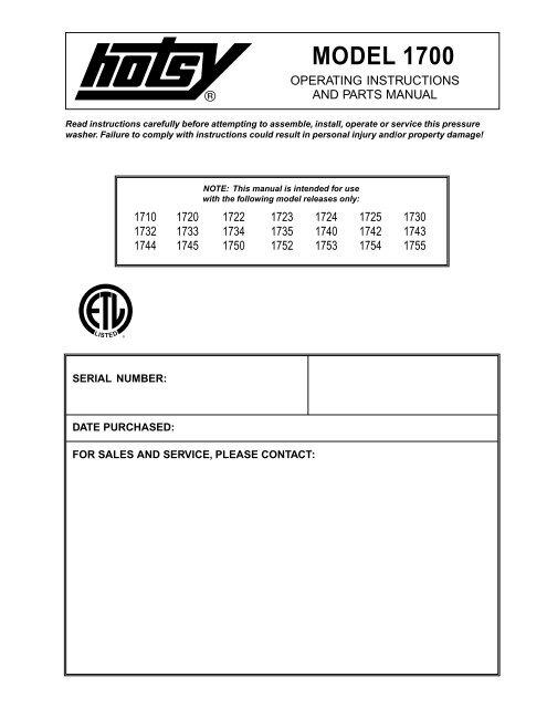 Hotsy 1700 97-6419 0411 - ETS Company Pressure Washers and