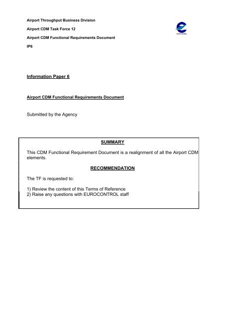 Functional Requirement - Airport Collaborative Decision Making