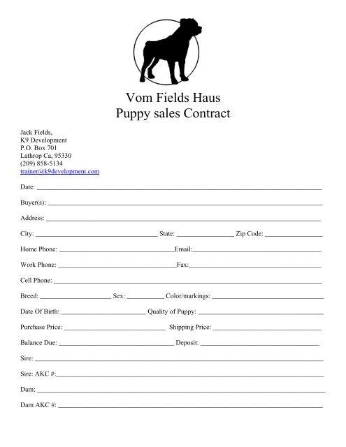 Vom Fields Haus Puppy sales Contract - K9 Development