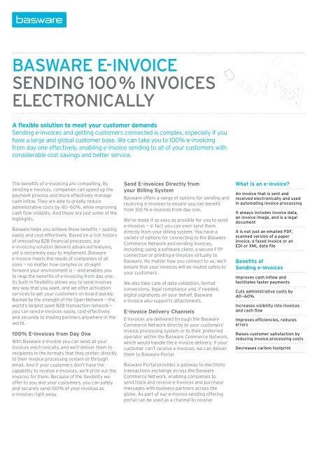 Sending 100 invoices electronically - Fact Sheet - Basware