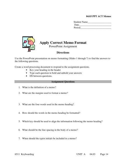 Apply Correct Memo Format - 21stCenturyLucas