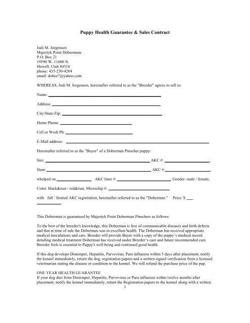 Puppy Health Guarantee  Sales Contract - Utahdobermans
