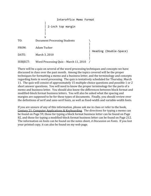Interoffice Memo Format 2\u2010inch top margin - Warren Hills