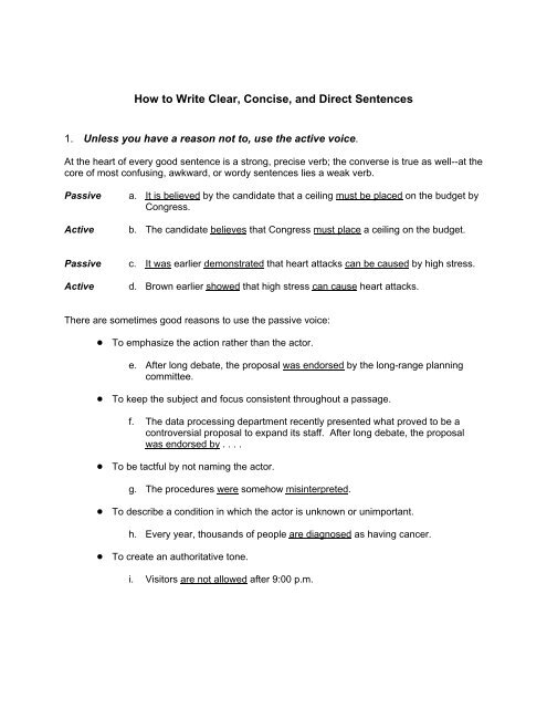 How to Write Clear, Concise, and Direct Sentences - The Writing
