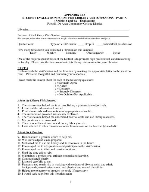 1 APPENDIX J23 STUDENT EVALUATION FORM - Foothill College