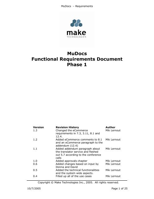 MuDocs Functional Requirements Document Phase 1 - University of