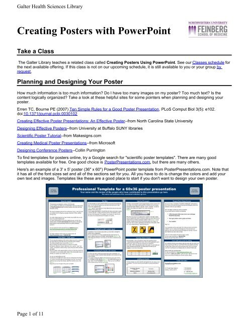 Creating Posters with PowerPoint - Galter Health Sciences Library