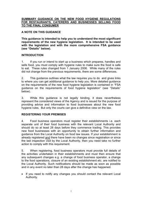 Summary guidance on new food hygiene regulations for - Banbridge