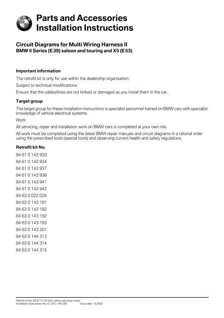 Circuit diagrams for multi wiring harness II E39 5879 - BMW Retrofit