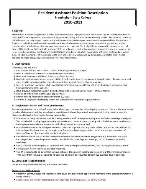 Resident Assistant Job Description and Position Agreement