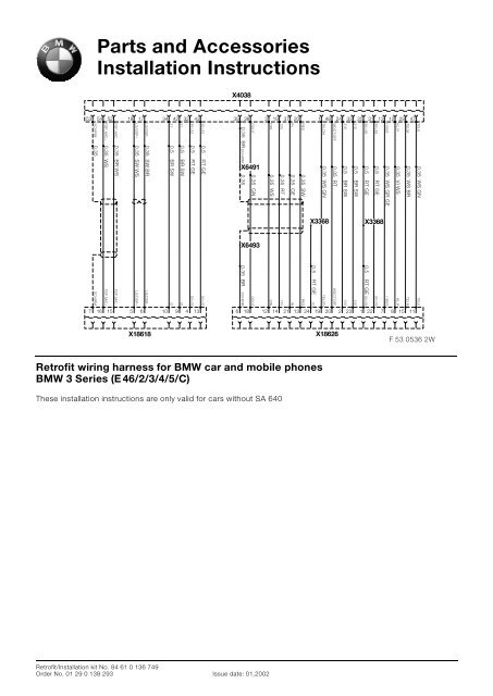 Mulit-wiring harness circuit diagrams without SA640 E46/All 4611
