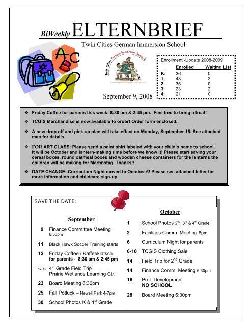 BiWeekly ELTERNBRIEF - Twin Cities German Immersion School
