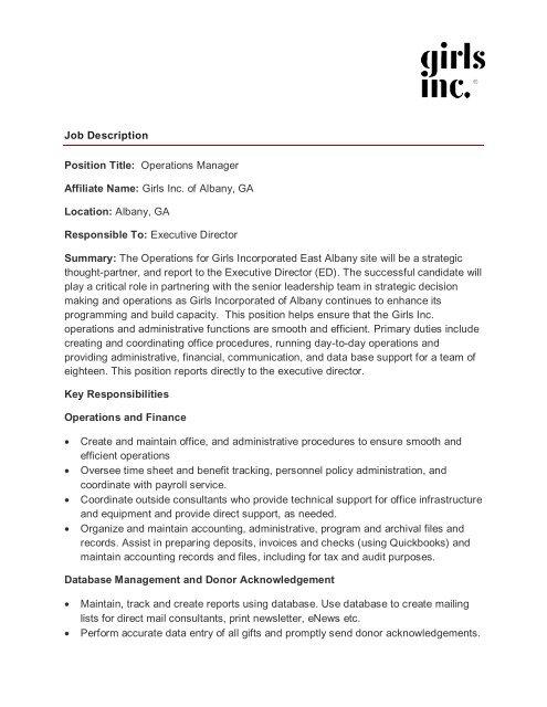 Job Description Position Title Operations Manager - Girls Inc