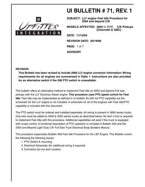 Ui bulletin # 71, rev 1 - GM UPFITTER