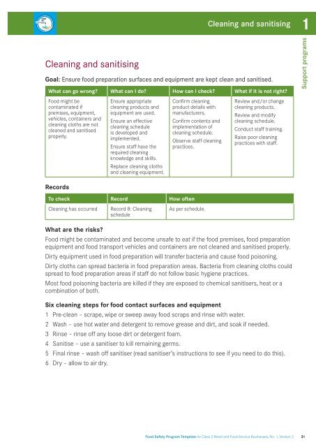 Food safety program template for class 2 retail and food service