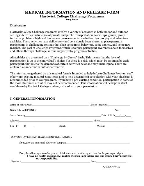 MEDICAL INFORMATION AND RELEASE FORM - Hartwick College