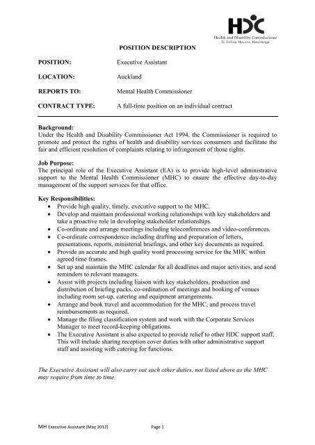 POSITION DESCRIPTION POSITION Executive Assistant