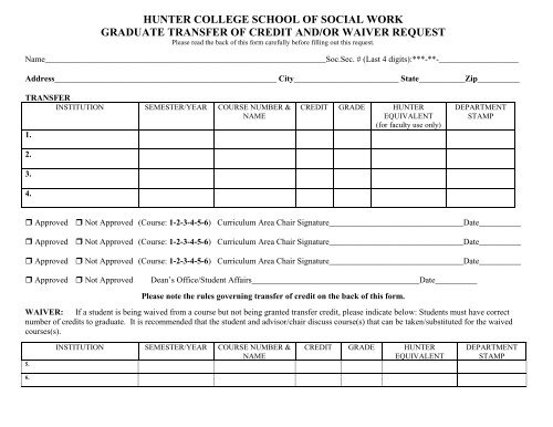 Transfer of Credit Waiver Request Form - Hunter College