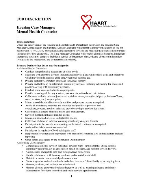 JOB DESCRIPTION Housing Case Manager/ Mental Health - Haartmental ...