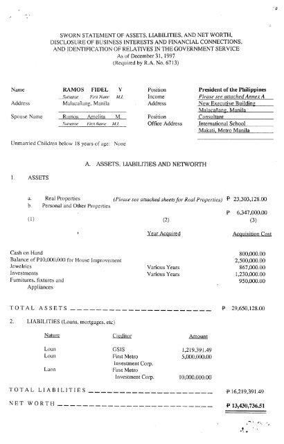 Fidel Ramos Statements of Assets, Liabilities, and Net Worth