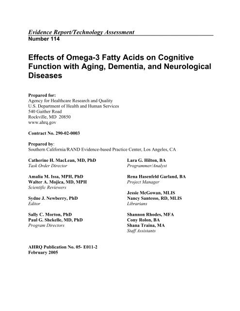 Effects of Omega-3 Fatty Acids on Cognitive Function - Naturalis