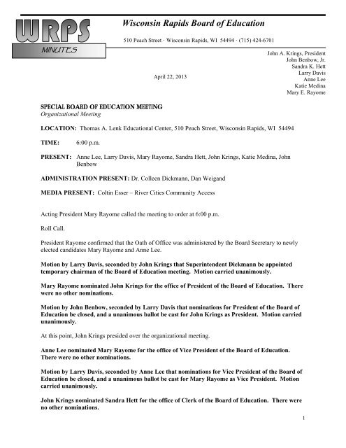 Minutes for Board Organizational Meeting of 4-22-13 - Wisconsin