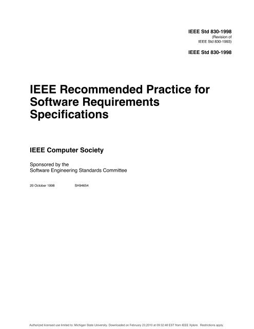 IEEE Software Requirements Specification Template
