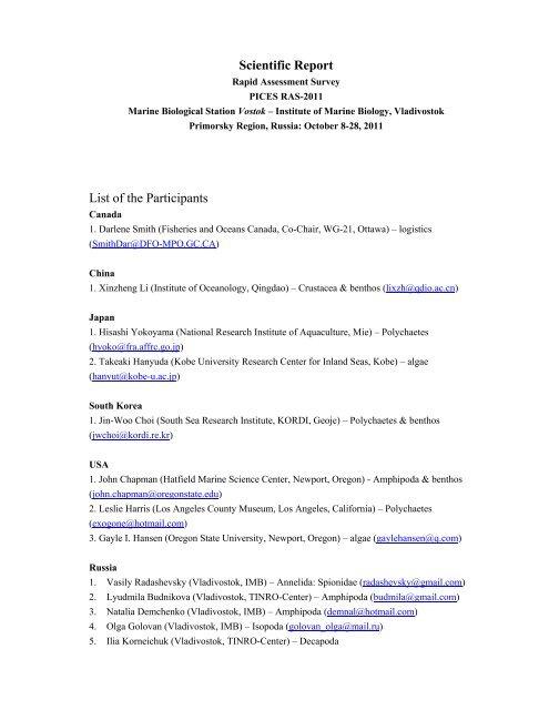 Scientific Report List of the Participants - Marine Biodiversity Center
