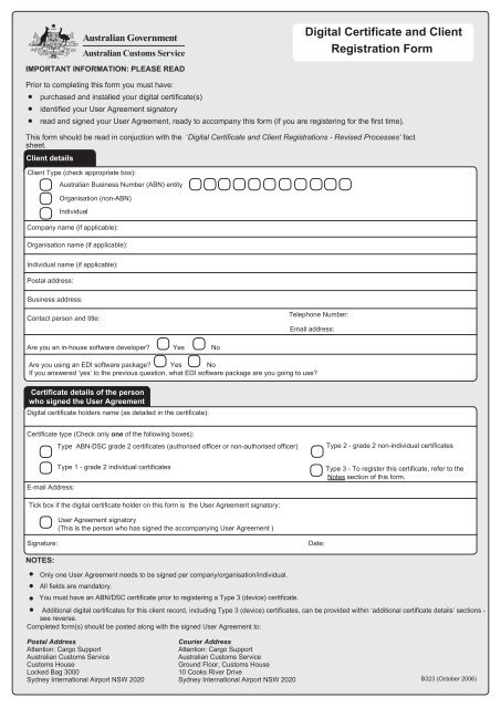 Digital Certificate and Client Registration Form - Australian