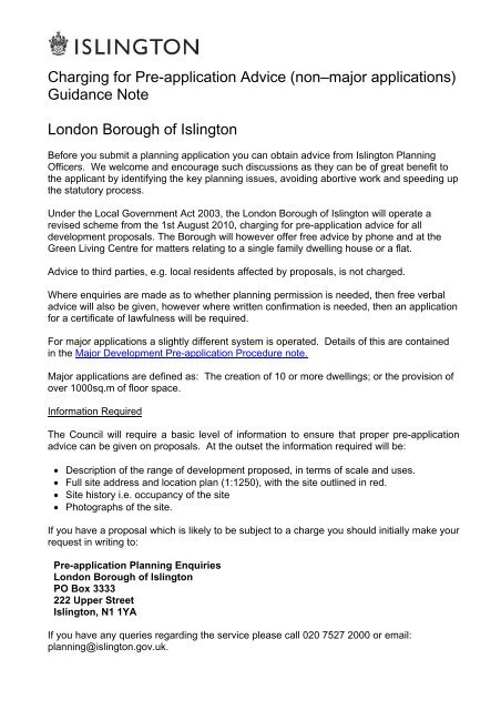 Charging for Pre-application Advice (nonâ\u20ac\u201cmajor - Islington Council