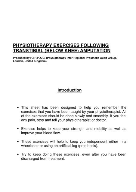 PIRPAG Exercises Post Transtibial Amputation - Ispoorguk