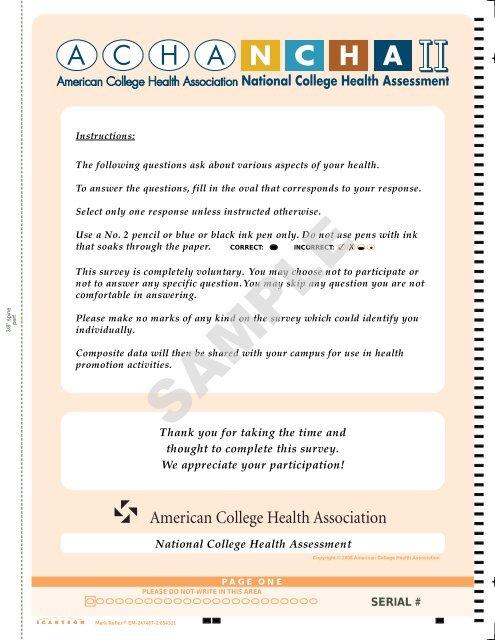 acha-ncha ii sample survey - National College Health Assessment