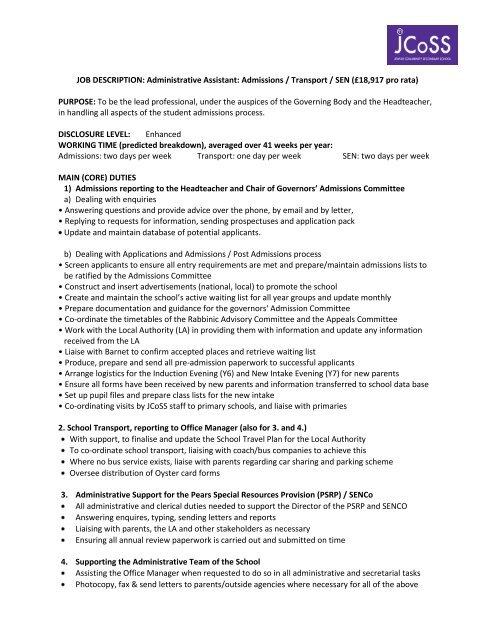 JOB DESCRIPTION Administrative Assistant Admissions