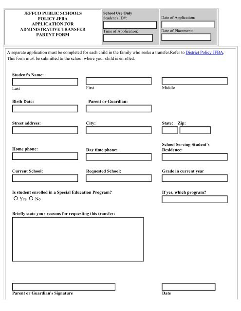 Administrative Student Transfer Request Form for Parents