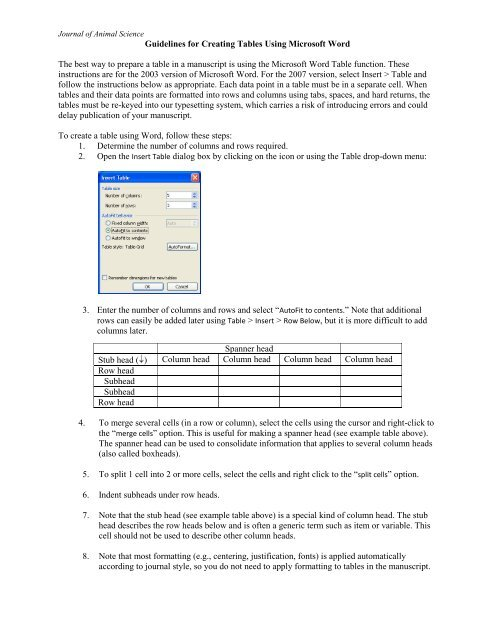 Guidelines for Creating Tables in Microsoft Word - Journal of Animal
