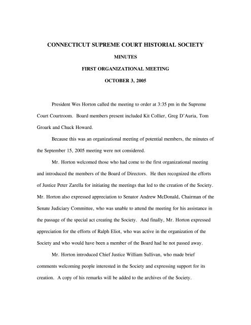 Minutes of First Organizational Meeting - 10/03/05 - Supreme Court
