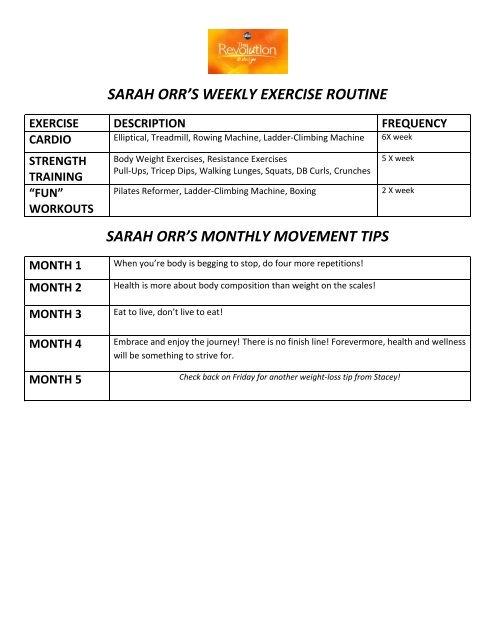SARAH ORR\u0027S WEEKLY EXERCISE ROUTINE SARAH - ABC
