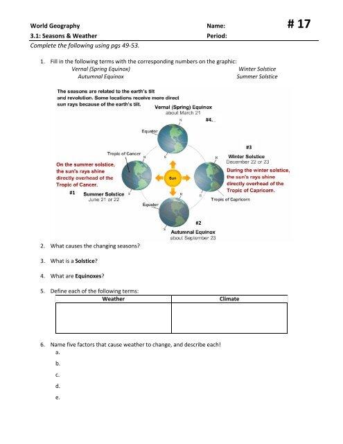 3 1 Seasons and Weather Worksheet