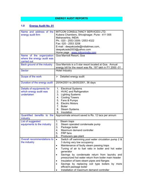proforma for submitting energy audit reports - Energy Manager