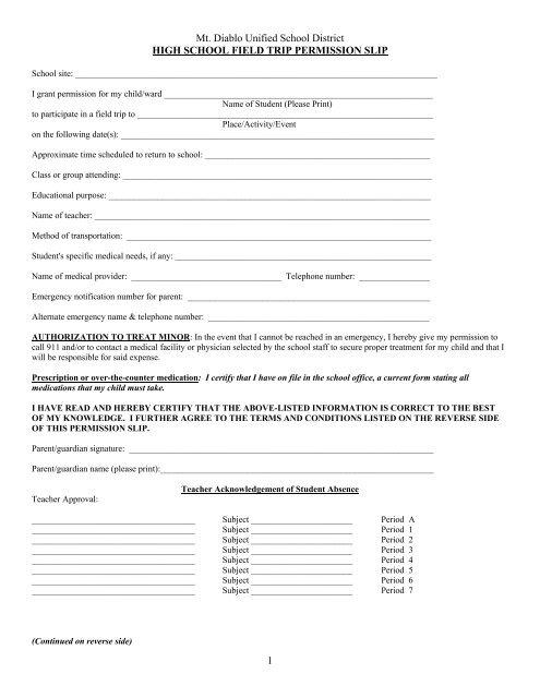 Field Trip Permission Slip High School - Mt Diablo Unified School