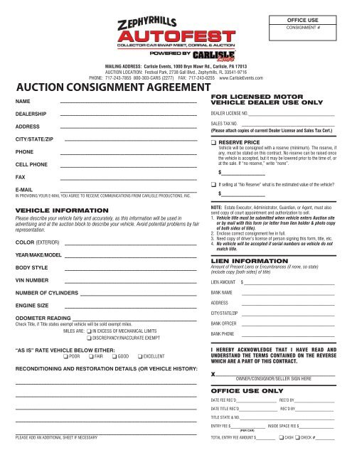 auction consignment agreement - Carlisle Events