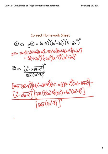 Day 12 - Derivatives of Trig Functions afternotebook