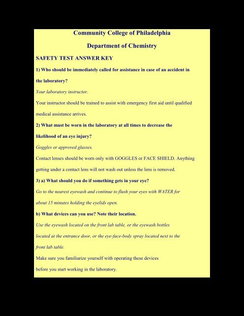 Safety Test Questions  Answer Key - Community College of