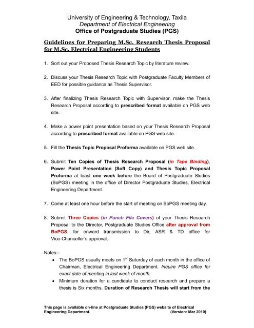 Guidelines for Preparing Thesis Topic Proposal for MSc Electrical