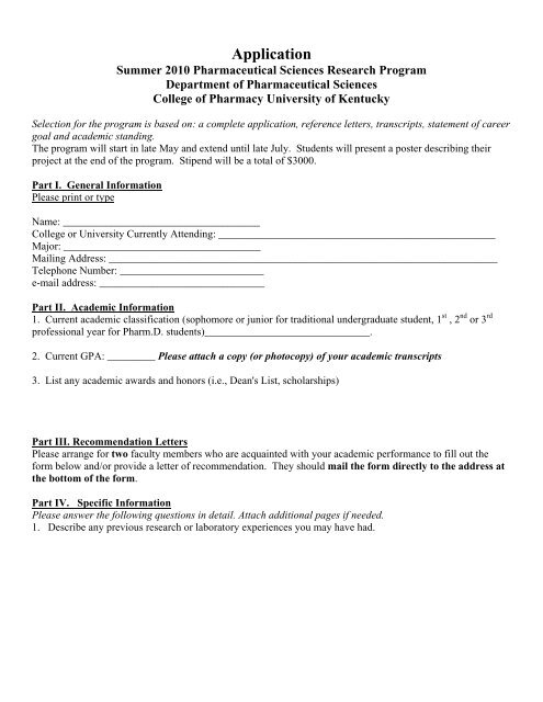 PS Application Form pdf - University of Kentucky - College of