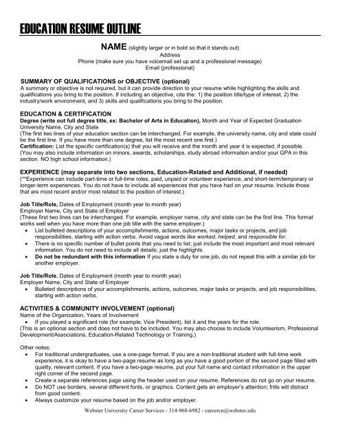 School of Education Resume Outline - Webster University