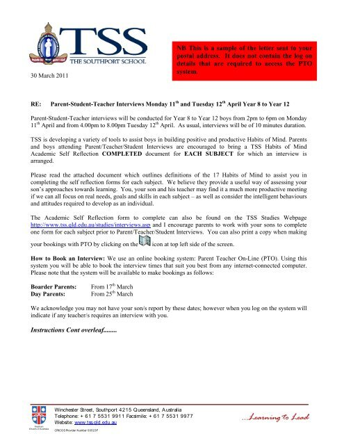 SAMPLE Letter regarding Parent-Student-Teacher Interviews