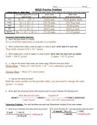 Chemistry Solutions Worksheet Molarity Molality And Mole ...